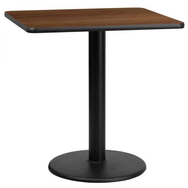 Flash Furniture 30'' Square Walnut Laminate Table Top with 18'' Round Table Height Base