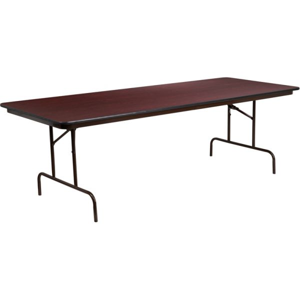 Flash Furniture 36'' x 96'' Rectangular Mahogany Melamine Laminate Folding Banquet Table