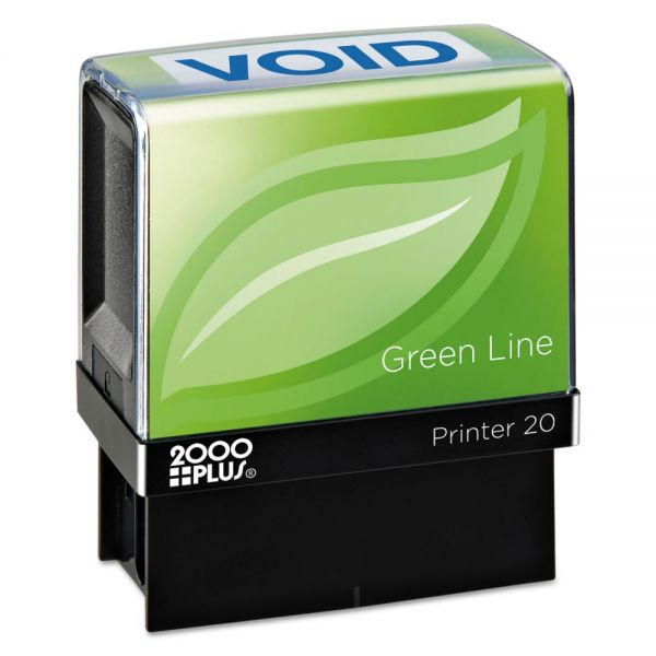 COSCO 2000PLUS Green Line Message Stamp, Void, 1 1/2 x 9/16, Blue