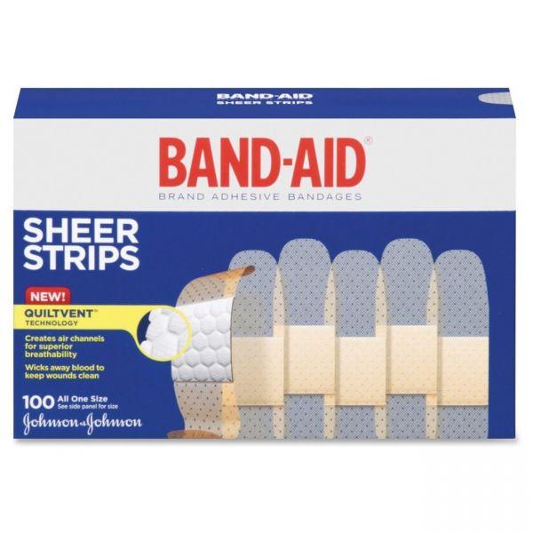 """BAND-AID Sheer Adhesive Bandages, 3/4"""" x 3"""", 100/Box"""