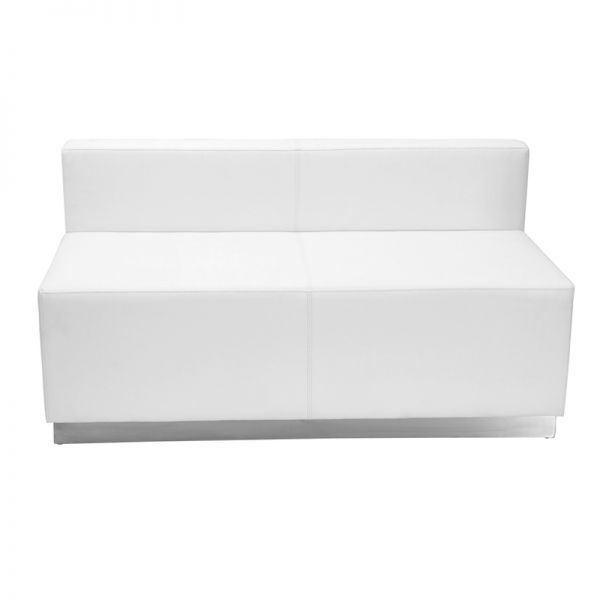 Flash Furniture HERCULES Alon Series Melrose White Leather Loveseat with Brushed Stainless Steel Base