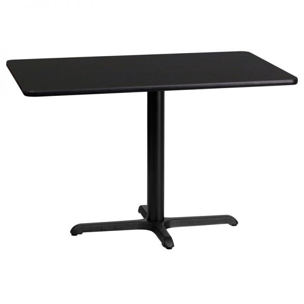 Flash Furniture 24'' x 42'' Rectangular Black Laminate Table Top with 22'' x 30'' Table Height Base