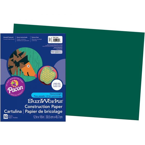 SunWorks Groundwood Green Construction Paper