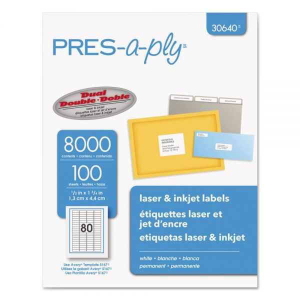 PRES-a-ply Laser/Inkjet Address Labels, 1/2 x 1 3/4, White, 8000/Pack