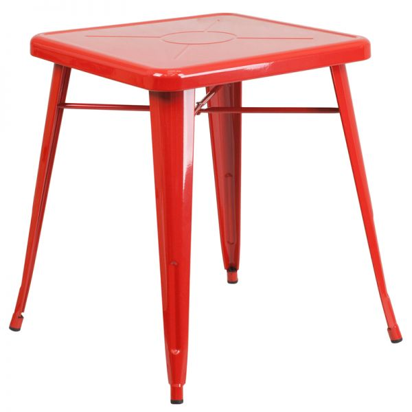 Flash Furniture 23.75'' Square Red Metal Indoor-Outdoor Table
