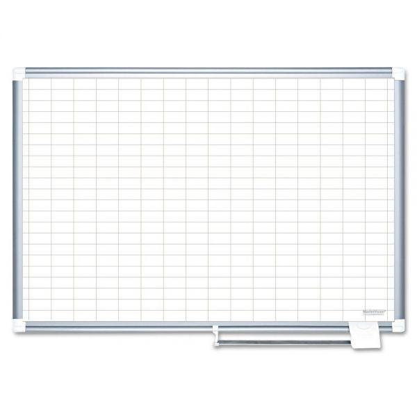 MasterVision Gridded Magnetic Porcelain Planning Board, 1 x 2 Grid, 72 x 48, Aluminum Frame