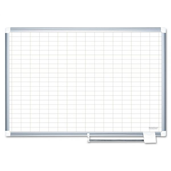 "MasterVision Grid Platinum Plus Dry Erase Board, 1x2"" Grid, 48"" x 72"", Silver Frame"