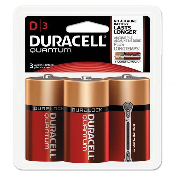 Duracell Quantum Alkaline Batteries, D, 3/PK