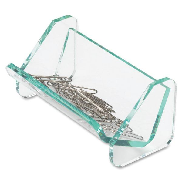 Lorell Acrylic Transp Green Edge Paper Clip Holder