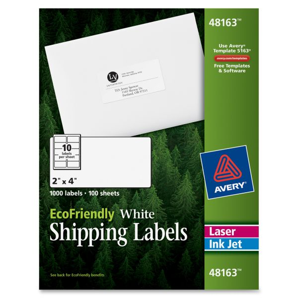 """Avery 48163 EcoFriendly 2"""" x 4"""" Shipping Labels"""