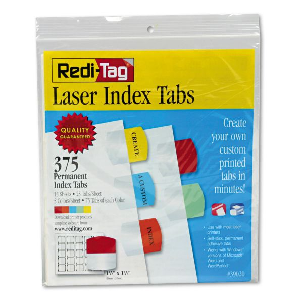 Redi-Tag Laser Printable Index Tabs, 1 1/8 x 1 1/4, 5 Colors, 375/Pack