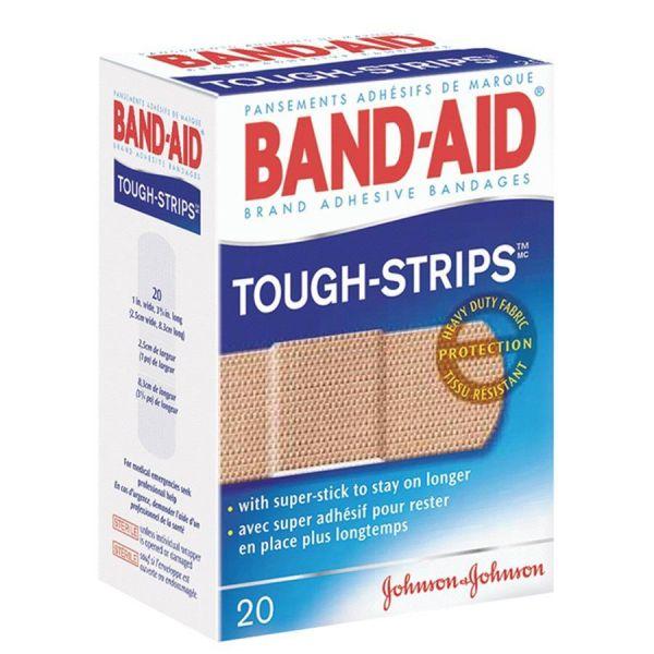 "BAND-AID Flexible Fabric Adhesive Tough Strip Bandages, 1"" x 3 1/4"", 20/Box"