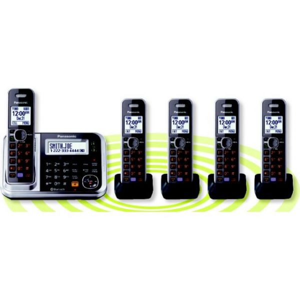 Panasonic Link2Cell KX-TG7875S DECT 6.0 1.90 GHz Cordless Phone - Silver