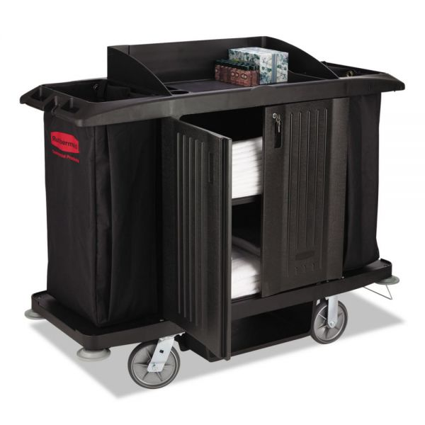 Rubbermaid Commercial Full-Size Housekeeping Cart, Three-Shelf, 22w x 60d x 50h, Black