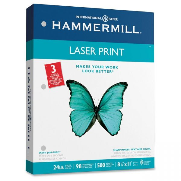 Hammermill 3 Hole Punched Laser Paper