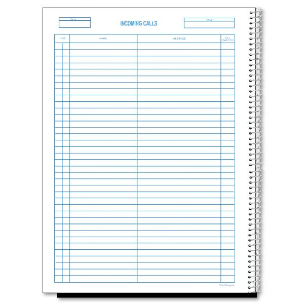Rediform Wirebound Call Register, 8 1/2 x 11, 3, 700 Forms/Book