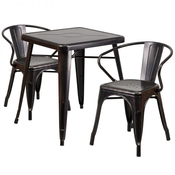 Flash Furniture 23.75'' Square Black-Antique Gold Metal Indoor-Outdoor Table Set with 2 Arm Chairs
