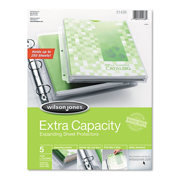 Wilson Jones Top Loading Extra Capacity Expanding Sheet Protectors