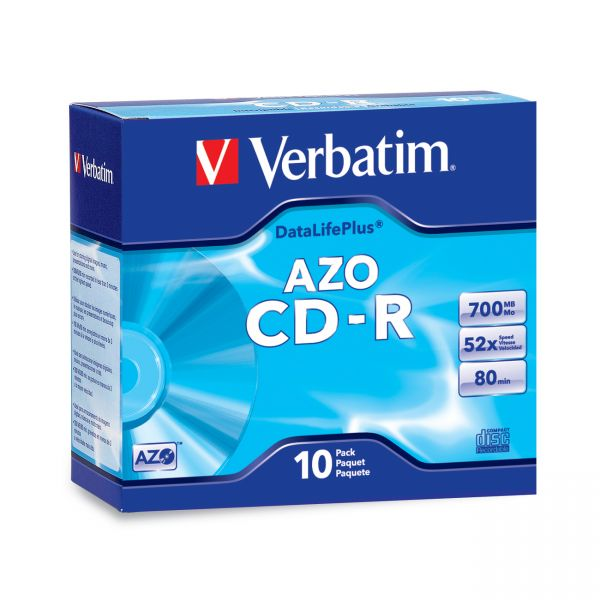 Verbatim CD-R Discs, 700MB/80min, 52x, w/Slim Jewel Cases, Silver, 10/Pack
