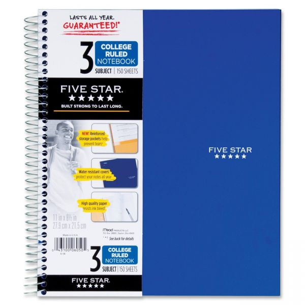 Five Star 3-Subject College Ruled Spiral Notebook