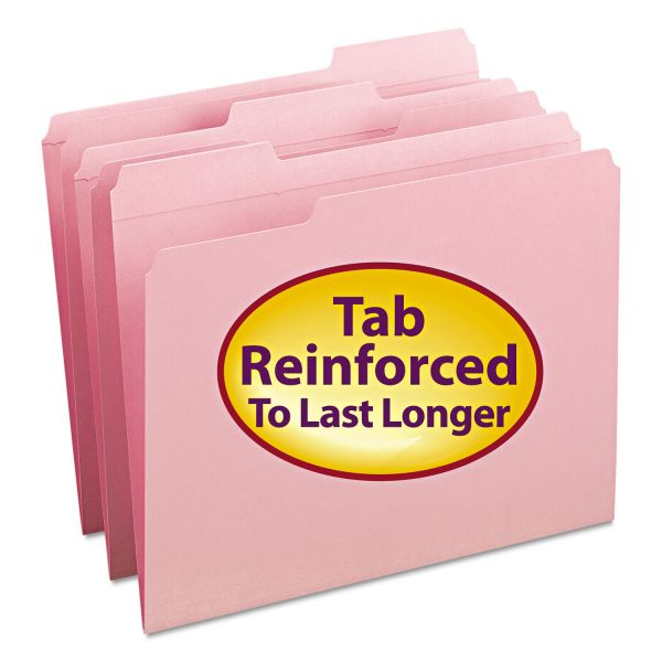 Smead Pink Colored File Folders with Reinforced Tab