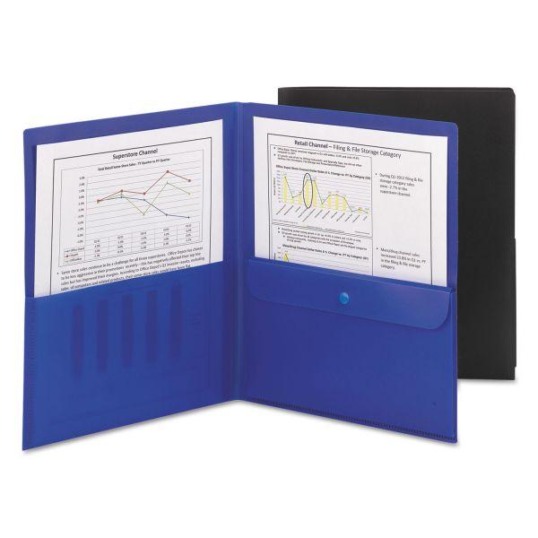Smead Poly Two-Pocket Folder w/Security Pocket, 11 x 8 1/2, Black, 5/Pack
