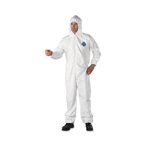 DuPont Tyvek Elastic-Cuff Hooded Coveralls, HD Polyethylene, White, X-Large, 25/Carton