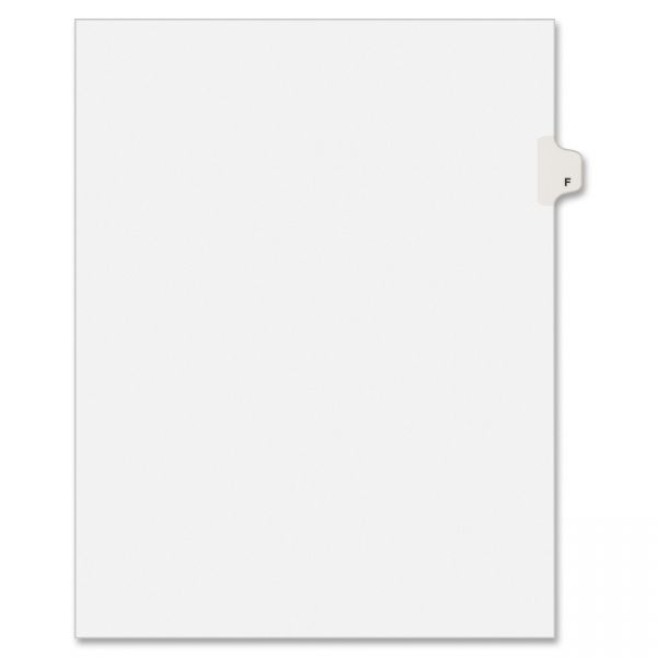 Avery Allstate-Style Legal Exhibit Side Tab Divider, Title: F, Letter, White, 25/Pack