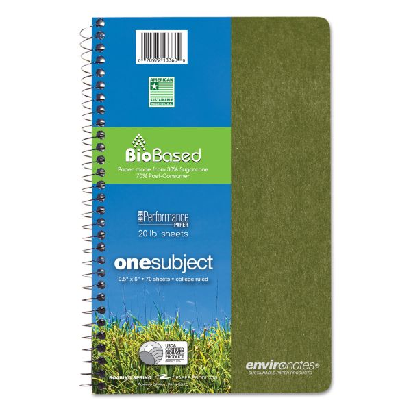 Roaring Spring Environotes BioBased Notebook, 9 1/2 x 6, 80 Sheets, College Rule, Assorted
