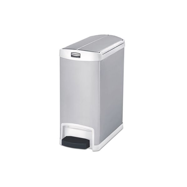Rubbermaid Slim Jim Stainless Steel Step-On 8 Gallon Trash Can