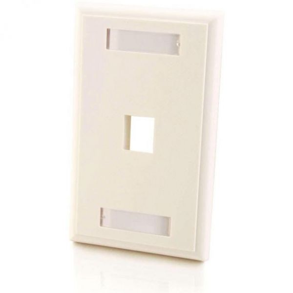 C2G 1-Port Single Gang Multimedia Keystone Wall Plate - White