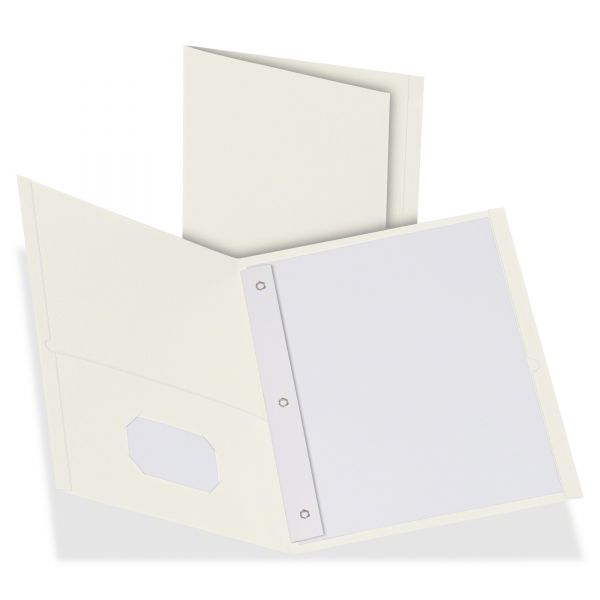 Oxford White Two Pocket Folders with Fasteners