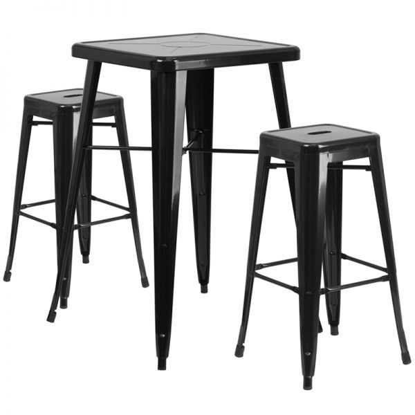 Flash Furniture 23.75'' Square Black Metal Indoor-Outdoor Bar Table Set with 2 Square Seat Backless Barstools