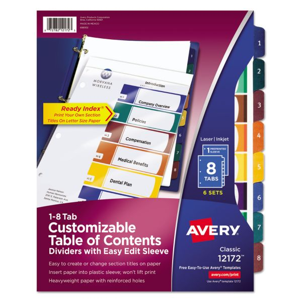 Avery Ready Index Customizable Table of Content Dividers, 8-Tab, Multi-color Tab, Letter, 6 Sets
