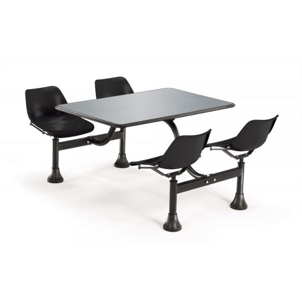 OFM OFM Cluster Table with 4 Attached Swivel Chairs and Stainless Steel Top, Black