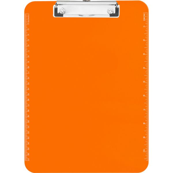 Sparco Plastic Translucent Neon Orange Clipboard