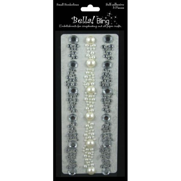 "Bling Self-Adhesive Rhinestone/Pearl Borderlines 6"" 3/Pkg"