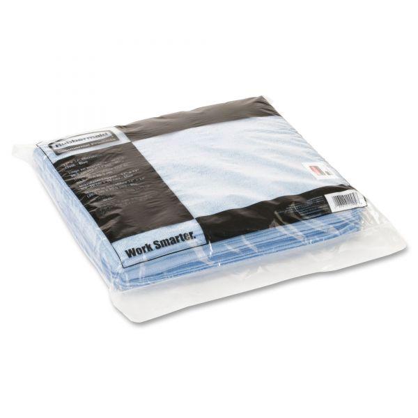 Rubbermaid Commercial HYGEN HYGEN Sanitizer Safe Microfiber Cloth, 16 x 19, White/Blue, 288/Carton