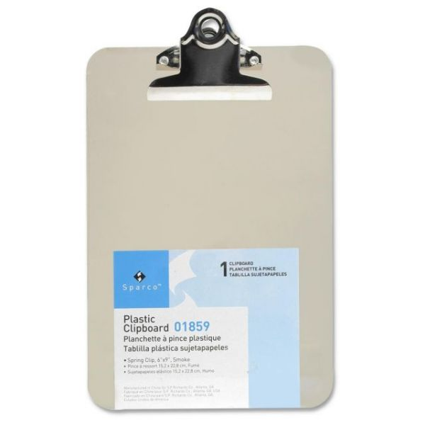 "Sparco 6"" x 9"" Plastic Transparent Clipboard"