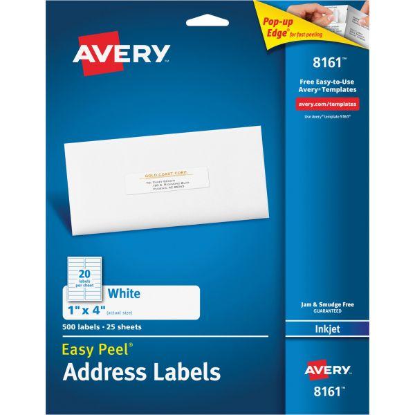 Avery Easy Peel Mailing Address Labels, Inkjet, 1 x 4, White, 500/Pack