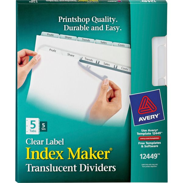 Avery Index Maker Print & Apply Clear Label Plastic Dividers, 5-Tab, White Tab, Letter, 5 Sets