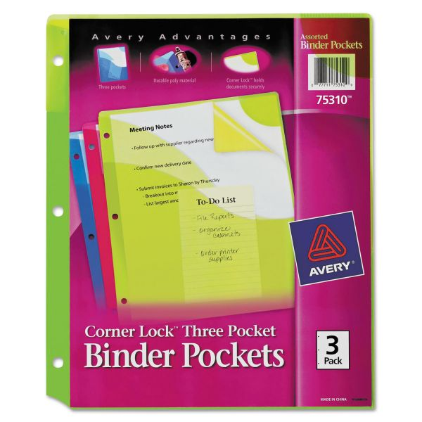 Avery Corner Lock Three-Pocket Binder Pockets