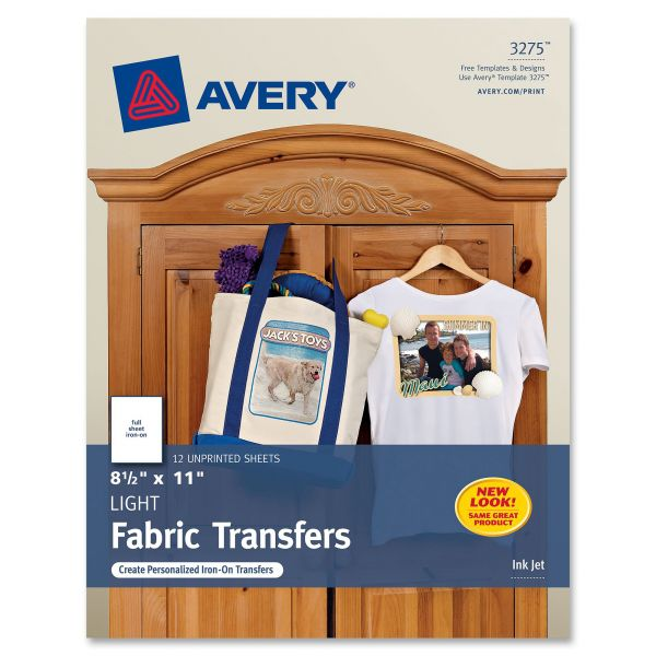 Avery Personal Creations Inkjet Light T-Shirt Iron-On Transfers, White, 12 Sheets/Pack