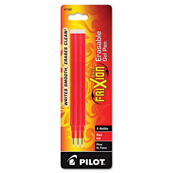 Pilot Refill for FriXion Erasable Gel Ink Pen, Red, 3/Pk