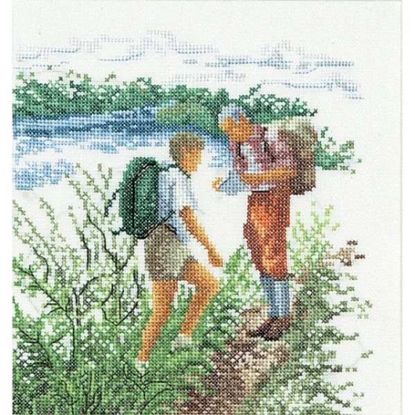 Hiking On Linen Counted Cross Stitch Kit