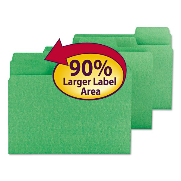Smead SuperTab Green Colored File Folders