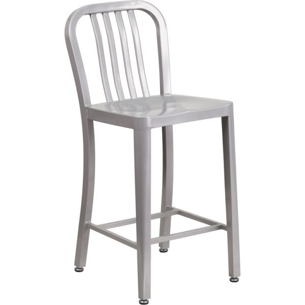 Flash Furniture 24'' High Metal Indoor-Outdoor Counter Height Stool with Vertical Slat Back