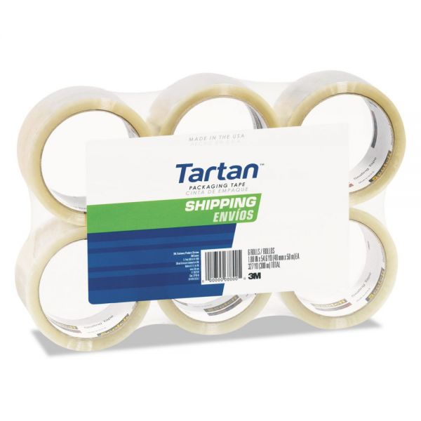 "Tartan 3710 Packaging Tape, 3"" Core, 1.88"" x 54.6yds, 3"" Core, Clear, 6/Pack"