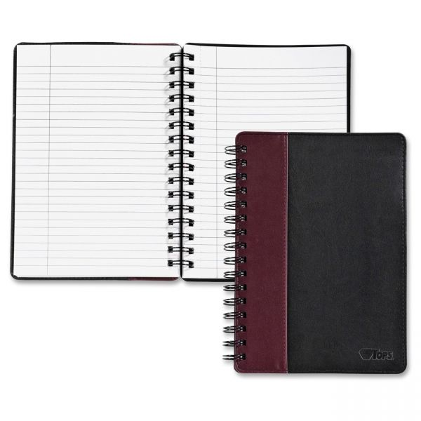 TOPS Black/Burgundy Leatherette Notebook