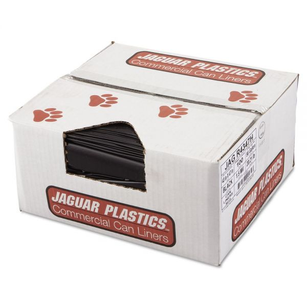 Jaguar Plastics Repro Low-Density Can Liners, 1.5 Mil, 43 x 47, Black, 100/Carton